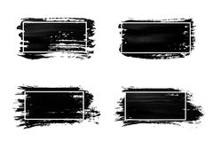 Ink brush strokes set. Acrylic paint with grunge texture strokes. Dirty black ink spots and white frames. Vector Stock Photography