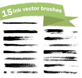 Ink  brushes. 15 ink  brushes. Paint brush strokes. Elements for design Stock Photography