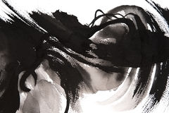 Ink Brushstrokes. Black and white hand painted brush strokes Royalty Free Stock Image