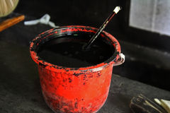 Ink bucket. Bucket of ink used to make rubbings of Chinese stone steles Royalty Free Stock Image