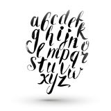 Ink calligraphy english alphabet. Vector isolated hand drawing letters. Hand lettering Royalty Free Stock Photography