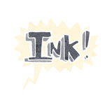 Ink cartoon  with speech bubble Royalty Free Stock Photo