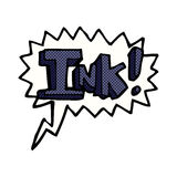 Ink cartoon  with speech bubble Royalty Free Stock Photography