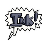 Ink cartoon  with speech bubble Royalty Free Stock Photos
