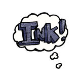 Ink cartoon  with thought bubble Royalty Free Stock Photography