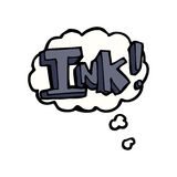 Ink cartoon  with thought bubble Royalty Free Stock Images