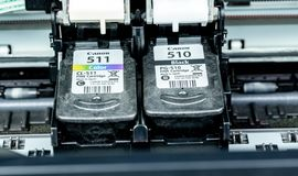 Free Ink Cartridge Replacement On An Inkjet Printer Royalty Free Stock Photos - 136781778