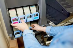 Ink Cartridges in Plotter stock photography