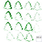 Ink Christmas tree. Set of ink spruce. Green ink and brush sketc Stock Photography