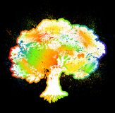 Ink colorful tree on black over. Vector Stock Image