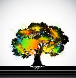 Ink colorful tree. Vector. Grunge colorful tree on white. Vector illustration vector illustration