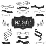 Ink decorative ribbon banners. Designers collection. Hand drawn illustration. Design elements Royalty Free Stock Image