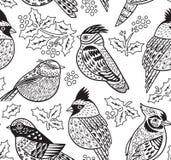 Ink den sömlösa modellen för fåglar med och järnekbär också vektor för coreldrawillustration vektor illustrationer