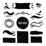 Ink design labels, ribbons and decorative elements Stock Image