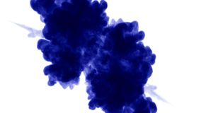 Blue ink dissolves in water on white background with luma matte. 3d render of computer simulation. Inks inject in water. Ink dissolves in water on white stock video footage