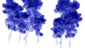 Blue ink dissolves in water on white background with luma matte. 3d render of computer simulation. many ink streams move. Ink dissolves in water on white stock illustration