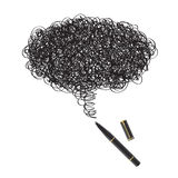 Ink drawing with black pen Royalty Free Stock Photos