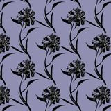 Ink drawing black peony flowers pattern on purple background vector illustration