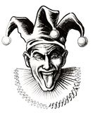 Mad jerster. Ink drawing of a crazy joker with his tongue out Royalty Free Stock Image