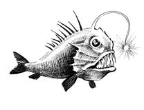 Deep water fish. Ink drawing of a deep water fish Stock Photos
