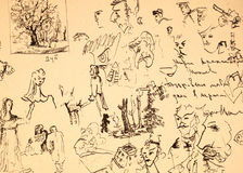 Ink drawing with different faces and elements Stock Photo