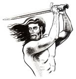Warrior with a sword. Ink drawing of a fighting warrior with a sword Royalty Free Stock Photo