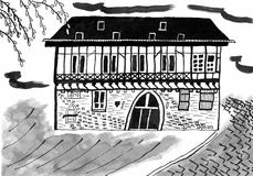Ink Drawing Half Timbered House in Erfurt, Germany Stock Photo
