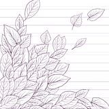 Ink drawing  leaves at lined paper Stock Photos
