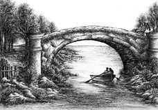 Ink Drawing of Old Bridge Across a Small River Stock Photo