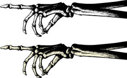 Ink drawing of a pointing skeleton hand Royalty Free Stock Photography