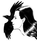 Girl and raven. Ink drawing of a pretty girl an flying raven Royalty Free Stock Photo