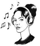 Girl in headphones stock illustration