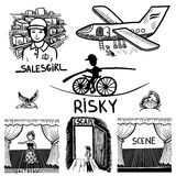 Ink drawing of risky, salesgirl, scene, actress,. Collection black and white doodle sketch ink drawing of risky, salesgirl, scene, actress, escape, travel Stock Image