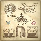 Ink drawing of risky, salesgirl, scene, actress,. Collection doodle sketch ink drawing of risky, salesgirl, scene, actress, escape, travel on grunge paper Stock Image