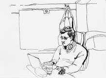 Ink drawing sketch of business man in the train working with his. Laptop and mobile phone during journey Royalty Free Stock Photography