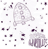 Ink drawing space rocket Stock Photography