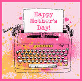 Ink drawing of vintage style typewriter with message Happy Mother`s Day. Grunge spray paint background. Vector illustration for greeting cards, advertising Royalty Free Stock Images