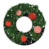 Ink drawing winter christmas tree round frame, new year stuff, green and red stock illustration