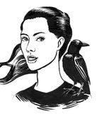 Girl and raven. Ink drawing of a young beautiful woman and a raven bird on her shoulder Royalty Free Stock Images
