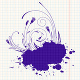 Ink-drawn floral Stock Images