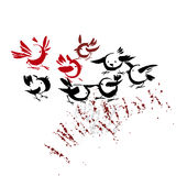 Ink drawn handmade birds Royalty Free Stock Images