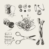 Ink drawn sewing set vector illustration