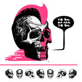 Ink drawn skull with mohawk T-shirt. A skull icon Stock Photo