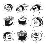 Ink Drawn Sushi Set Royalty Free Stock Images