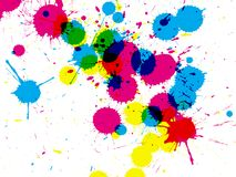Ink drips closeup. Closeup of colorful ink drips on white background vector illustration