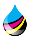 Ink drop. Printing ink drop filled in cmyk colors vector illustration