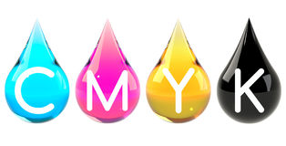 Ink drops set CMYK Royalty Free Stock Photography