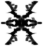 Ink Ex Abstract. Black ink calligraphy abstract ex mark cross, vertical, over white, isolated Stock Photo
