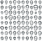 Ink faces set of eighty icons. Set of eighty small black faces painted with brush. Minimalism of the strokes makes the front view pictures look like emoticon Royalty Free Stock Photo