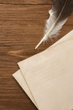Ink feather with envelope Stock Photography